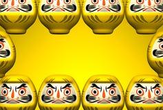 Muñecas amarillas de Daruma en espacio del texto amarillo Imagen de archivo
