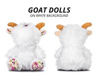 Muñecas de la cabra aisladas en el fondo blanco Cara en blanco para su dise?o imagenes de archivo