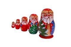 Muñecas de Matryoshka de la Navidad Imágenes de archivo libres de regalías
