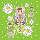 Muñecas en un campo verde stock de ilustración