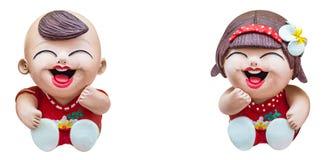 Muñecas felices del muchacho y de la muchacha Imágenes de archivo libres de regalías