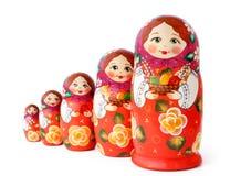 Muñecas jerarquizadas en blanco Foto de archivo libre de regalías