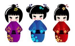 Muñecas lindas del kokeshi Imagenes de archivo