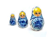 Muñecas rusas azules del matryoshka Fotografía de archivo