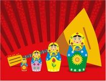Muñecas y balalaika. Fotos de archivo