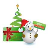 Muñeco de nieve, árbol y tarjeta de regalo de la Feliz Navidad Foto de archivo
