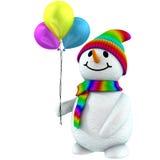 muñeco de nieve 3d con los globos Foto de archivo libre de regalías