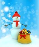 muñeco de nieve 3d sobre fondo del color Imagen de archivo libre de regalías
