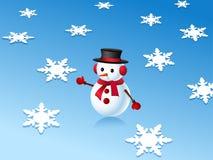 muñeco de nieve 3d y copos de nieve stock de ilustración