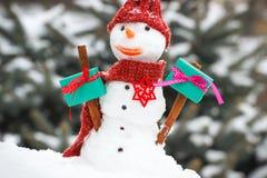 Muñeco de nieve adornado con el regalo para la Navidad o la tarjeta del día de San Valentín en fondo del árbol conífero Fotos de archivo