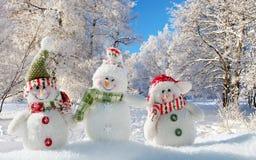 Muñeco de nieve alegre tres en la nieve Fotos de archivo libres de regalías