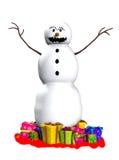 Muñeco de nieve asustadizo Fotografía de archivo