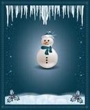 Muñeco de nieve azul de la tarjeta de la enhorabuena de la Navidad Foto de archivo