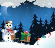 Muñeco de nieve - cartero Fotos de archivo libres de regalías