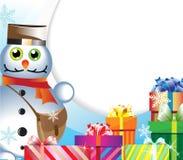 Muñeco de nieve-cartero con los regalos Foto de archivo libre de regalías