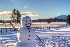 Muñeco de nieve cerca de las hermanas Oregon fotografía de archivo