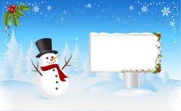 Muñeco de nieve con Bilboard Imágenes de archivo libres de regalías