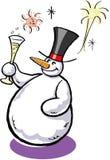 Muñeco de nieve con champán Foto de archivo libre de regalías