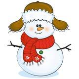 Muñeco de nieve con con el casquillo Fotografía de archivo libre de regalías