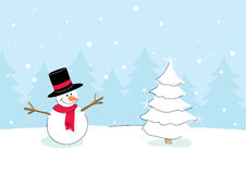Muñeco de nieve con el árbol de navidad stock de ilustración