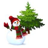 Muñeco de nieve con el árbol de pino Imagen de archivo libre de regalías