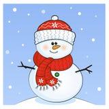 Muñeco de nieve con el casquillo rojo stock de ilustración