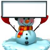 Muñeco de nieve con el ejemplo blanco del panel 3d Foto de archivo