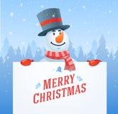 Muñeco de nieve con el fondo del vector de la Navidad de la bandera stock de ilustración