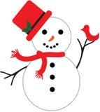 Muñeco de nieve con el pájaro Fotografía de archivo libre de regalías