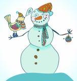 Muñeco de nieve con el pájaro, backcground lindo Imagen de archivo libre de regalías
