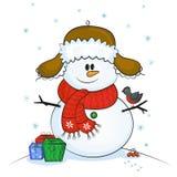 Muñeco de nieve con el pequeño pájaro libre illustration