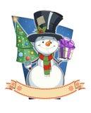 Muñeco de nieve con el regalo carácter de la Navidad Imágenes de archivo libres de regalías