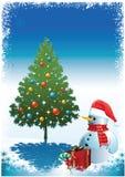 Muñeco de nieve con el regalo para usted Fotos de archivo libres de regalías