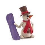 Muñeco de nieve con el Snowboard imagenes de archivo