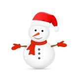 Muñeco de nieve con el sombrero de Papá Noel Fotos de archivo libres de regalías