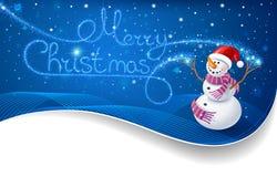Muñeco de nieve con el texto de la Navidad Imágenes de archivo libres de regalías
