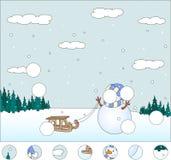 Muñeco de nieve con el trineo en el bosque del invierno: termine el rompecabezas Foto de archivo libre de regalías