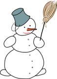 Muñeco de nieve con la escoba Ilustración del Vector