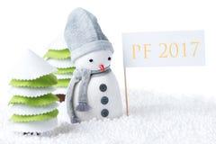 Muñeco de nieve con la muestra del PF 2017 Foto de archivo libre de regalías