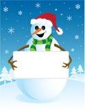 Muñeco de nieve con la tarjeta en blanco Fotos de archivo libres de regalías