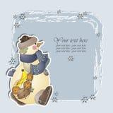 Muñeco de nieve con las naranjas, la piña y los plátanos en el bolso Stock de ilustración