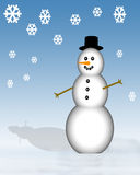 Muñeco de nieve con los copos de nieve Foto de archivo libre de regalías