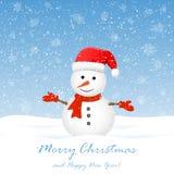 Muñeco de nieve con los copos de nieve stock de ilustración