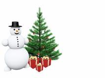 Muñeco de nieve con los regalos y el árbol de navidad Foto de archivo