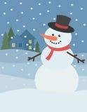 Muñeco de nieve con paisaje del invierno Imagenes de archivo