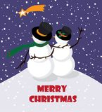 Muñeco de nieve con snowwoman que mira la estrella en la noche que nieva, ejemplo del vector Fotos de archivo