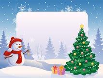 Muñeco de nieve con un cartel en blanco ilustración del vector