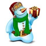 Muñeco de nieve con un regalo Imágenes de archivo libres de regalías