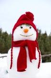 Muñeco de nieve con un sombrero rojo Imagen de archivo