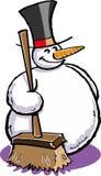 Muñeco de nieve con una escoba Imagenes de archivo